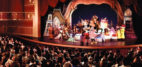 Guests enjoying a spectacular live show with Mickey and Minnie at the Walt Disney Theatre.